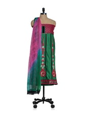 Green Cotton Unstitched Suit With Thread And Zari Embroidery - Paakhi