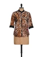 Brown Animal Print Top - AKYRA