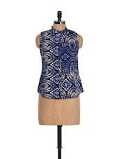 Blue Printed Sleeveless Top - AKYRA