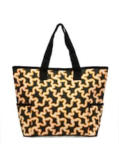 Stylish Black Printed Tote With Side Pockets - YOLO - You Only Live Once