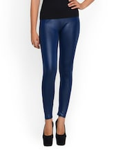 Polyester Navy Blue Leggings - N-Gal