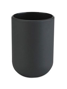 Black cylindrical tumbler