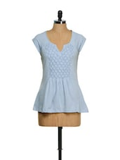 Soft Blue Pintuck Top - CHERYMOYA