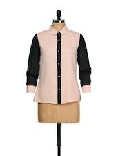 Peach And Black Shirt - CHERYMOYA