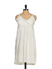 White And Black Polka-Dotted Dress - Lalana
