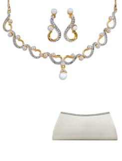 Pearl And Austrian Diamond Necklace Set (Free Clutch Bag) - Oleva