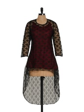 Red Top With Black Net Fabric - M Expose