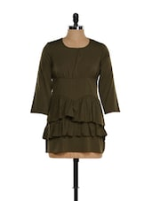 Green Ruffled Layered Top - M Expose
