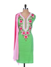 Green Linen Kurta With Pink Embroidery On The Placket And Sleeves, Pink Dupatta - Krishna's