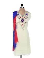 White Chanderi Kurta With Embroidery On The Placket And Sleeves, Blue And Red Dupatta - Krishna's