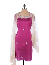 Purple Linen Kurta With Embroidery, Gota Work On The Neck And Sleeves , Cream Dupatta - Krishna's