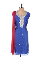 Blue Linen Kurta With Embroidery, Gota Work On The Placket And Sleeves, Red Dupatta - Krishna's