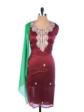 Maroon Linen Kurta With Embroidery, Gota Work On The Placket And Sleeves, Transparent Green Dupatta - Krishna's