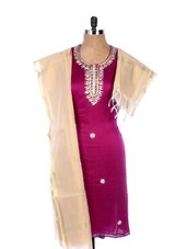 Magenta Linen Kurta With Embroidery, Gota Work On The Placket And Sleeves, Transparent Cream Dupatta - Krishna's