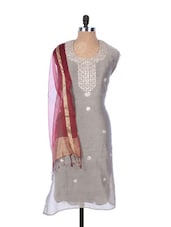 Grey Linen Kurta With Embroidery, Gota Work On The Neck And Sleeves With Transparent Maroon Dupatta - Krishna's