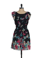 Black Ruffled Sleeved Georgette Skater Dress With Butterfly Prints - Oranje