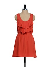 Red Polyster Crepe Dress With A Ruffled Layered Top - Oranje