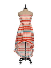 Orange Striped Asymmetrical Tube Dress - Oranje