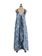 Grey Printed Satin Asymmetrical Long Dress With A Cross Back - Oranje