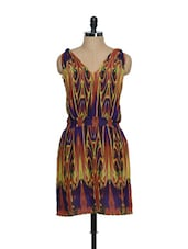 Purple Georgette Summer Dress With Vibrant Coloured Prints - Oranje