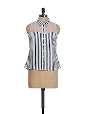 Black And White Striped Georgette Top With An Organza Yoke - Oranje