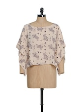 Peach Bat Wing Sleeved Top With Black Butterfly Prints - Oranje