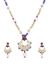 Colourful Crystals And Faux Pearls Necklace With Earrings Set - KSHITIJ