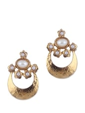 Dusty Gold And White Traditional Earrings - KSHITIJ