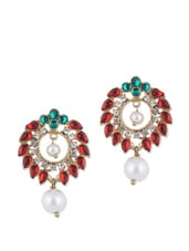 Kundan And Crystal Studded Ethnic Earrings - KSHITIJ