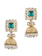 Gold Kundan Jhumkis With Green And White Faux Pearls - KSHITIJ