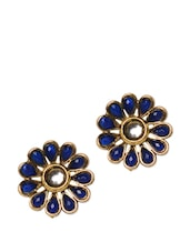 Flower Beaded Gold Ear Studs - Blissdrizzle