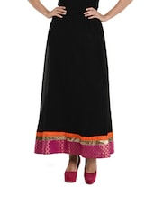 Black Maxi Skirt With Pink Brocade And Golden Zari Border - NAVYOU