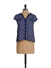Navy Blue Printed Top With Pleat At The Back - Citrine