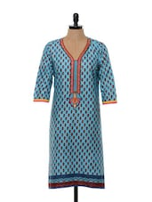 Floral Printed Sky Blue Cotton Kurti - SHREE