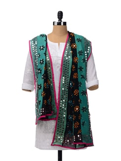 Green And Black Phulkari Dupatta - Vayana