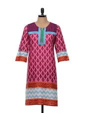 Pink Cotton Printed Kurti - SHREE