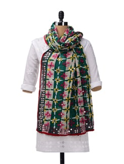 Green, Multi Colour Phulkari Dupatta - Vayana