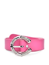 Pink Faux Leather Belt With A Fancy Metal Buckle - QUEST