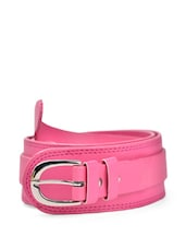 Pink Faux Leather Belt With A Metal Buckle - QUEST