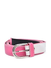 White And Pink Faux Leather Belt - QUEST