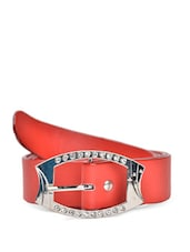 Red Faux Leather Belt With An Embellished Buckle - QUEST