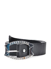 Black Faux Leather Belt With An Embellished Buckle - QUEST