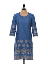 Blue And Golden Block Printed Cotton Kurta - SHREE