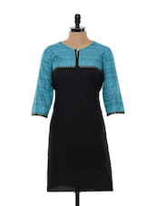 Black And Blue Cotton Kurta - SHREE