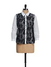 Lace Work Monochrome Shirt - QUEST