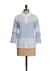 White Grey Jersey Top - QUEST