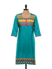 Geometric Printed Bluish-Green Cotton Kurta - SHREE