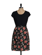 Floral dress with PU belt