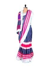 Blue Cotton Silk Saree - Riti Riwaz