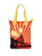 Red And Yellow Printed Tote Bag - Greenobag